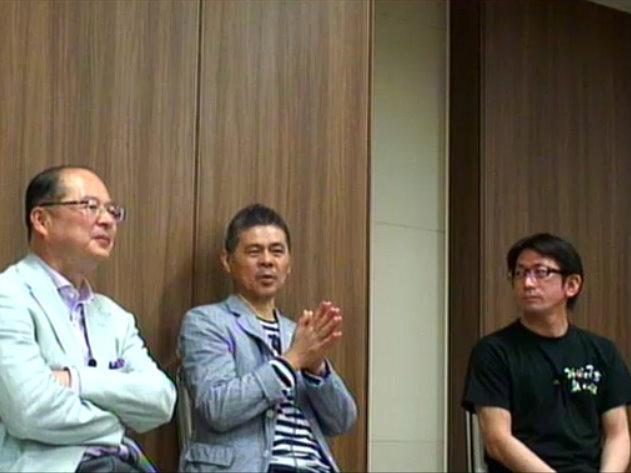 東京都内で開かれたトークイベント「いま、立ち上がること。つながること」に出演した(左から)横石知二氏、糸井重里氏、山田康人氏
