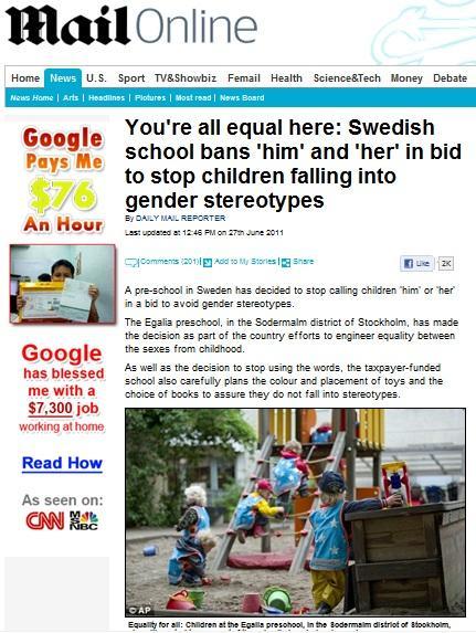 「スウェーデンのある幼稚園の試み」に関する記事がデイリー・メール紙Webサイトに掲載された