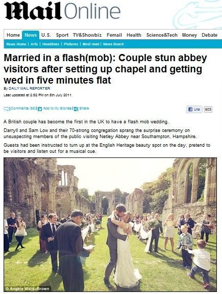 フラッシュモブ結婚式を報じるデイリー・メール紙