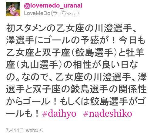 サッカー女子ワールドカップの日本対スウェーデン戦前にツイッターに投稿されたラブちゃんの占い