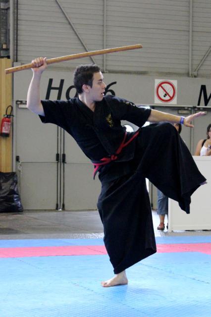 韓国のマーシャル・アーツ「Haidong Gumdo」。演武では蹴り技も使う。