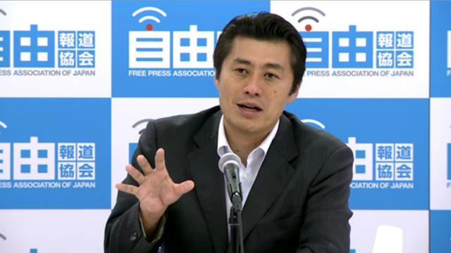 自由報道協会主催の会見で語る細野豪志原発担当相