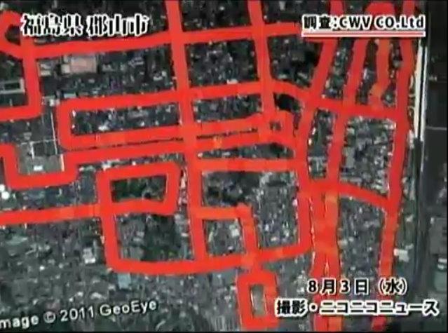 福島県・郡山市のグーグルマップ上に、調査した放射線量に応じて色をつけた「線量地図」