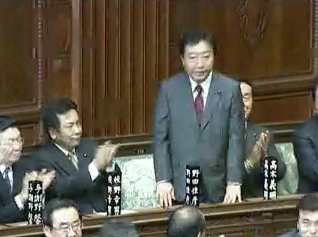 衆参両院で首相指名を受けた野田佳彦氏