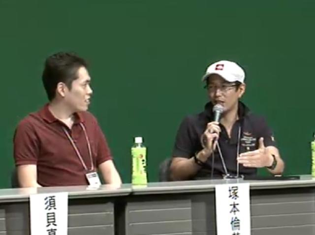 「攻殻~」の3D化に携わった塚本さん(左)と神山監督(右)
