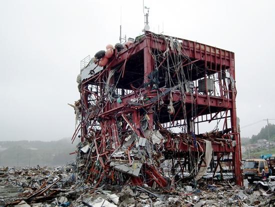 津波の被害を受けた建物(宮城県南三陸町)