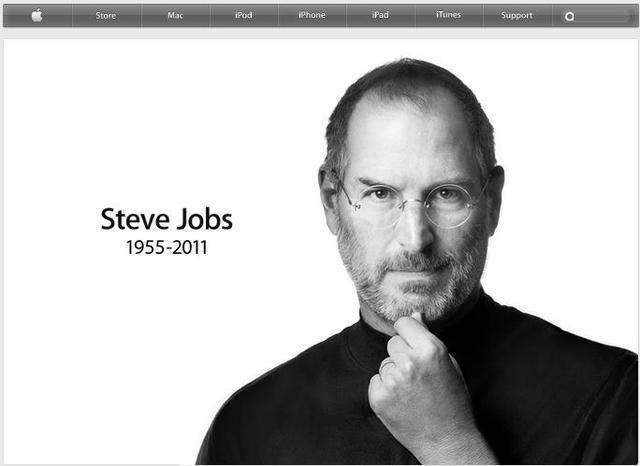 米アップル社の公式サイトのトップページに大きく表示されているスティーブ・ジョブズ氏