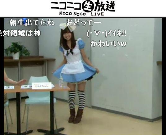 水色のアリス服で出演した「もふくちゃん」こと福嶋麻衣子氏