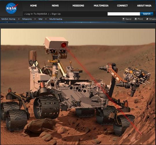 キュリオシティの探査活動イメージ(NASAのHPより)