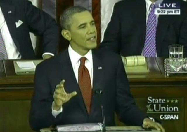 「一般教書演説」を行う米・オバマ大統領