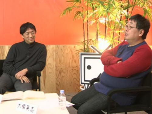 宮台真司氏(左)と大塚英志氏