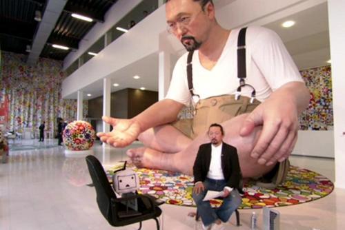 村上隆氏が出演、カタールから中継された番組の様子