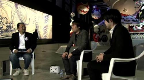 村上隆氏(左)、東浩紀氏(中央)、岩渕貞哉氏(右)