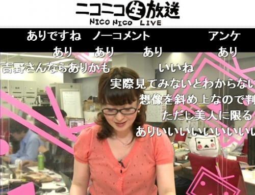 吉野智子キャスターが「ふんどし姿の女性はありか、なしか」とユーザーに問う場面