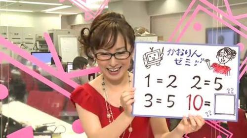 眼鏡をかけて、視聴者にクイズを出題する野口香織キャスター