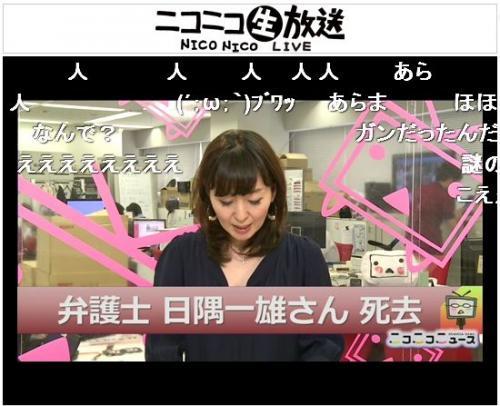 日隅一雄氏の訃報を伝える「夕刊ニコニコニュース」は「人」の文字が多く流れた