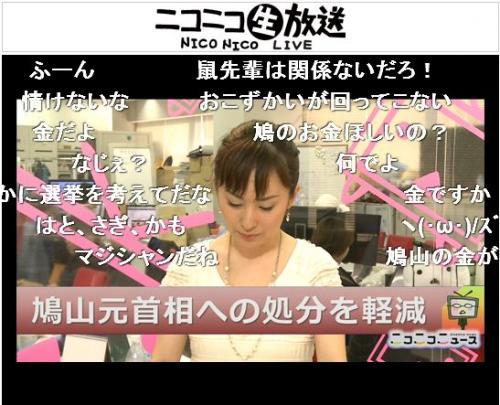鳩山元首相への処分軽減のニュースを報じる野口香織キャスター