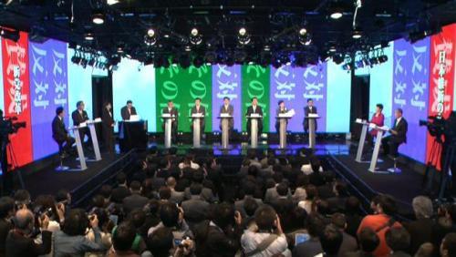 「TPP」をテーマとしたネット党首討論会の様子