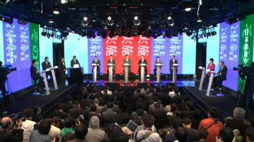 「消費増税」をテーマとしたネット党首討論会の様子