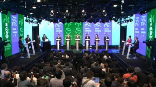 「原発」をテーマとしたネット党首討論会の様子