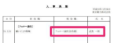 国会原発事故調査委員会に参考人として招致された東京電力フェロー(副社長待遇)の武黒一郎氏が退任します