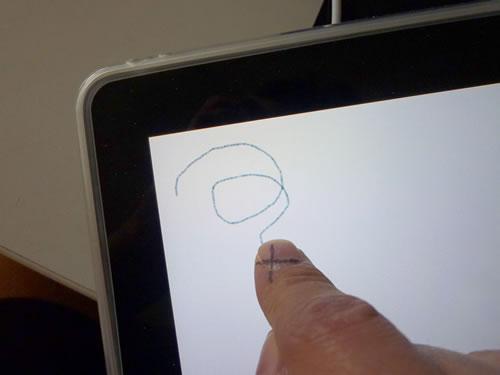 『iPad』に指で細い線を描く方法