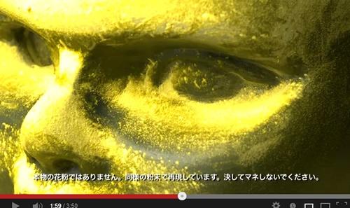 目の周りに花粉がびっしり