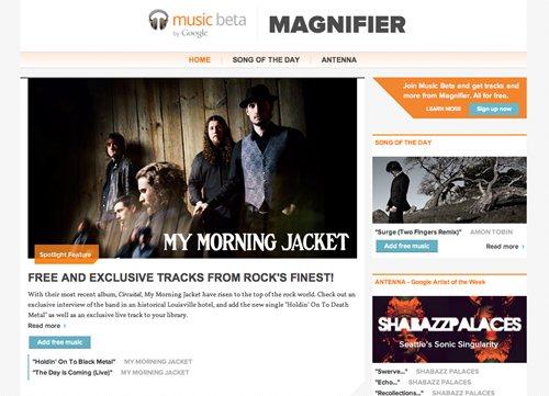 Googleの音楽情報サイトMagnifier