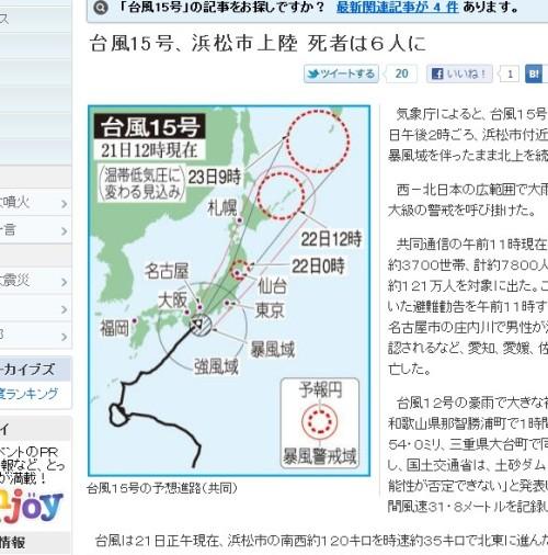 ニッカンスポーツサイトより引用「台風15号の予想進路(共同)」