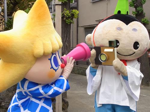 おしなりくんのカメラで記念撮影