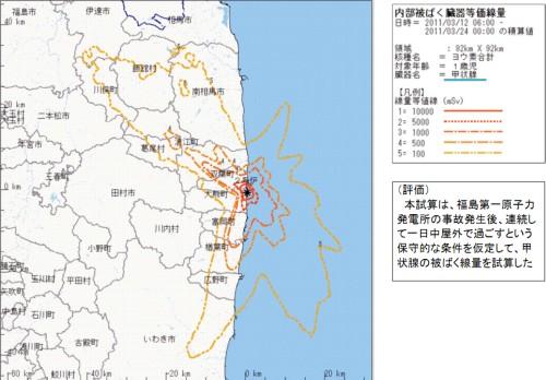 緊急時迅速放射能影響予測ネットワークシステム(SPEEDI)の試算(3月23日発表分)