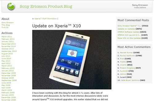 ソニー・エリクソンがブログで『Xperia X10』のAndroid 2.3へのバージョンアップを発表 ドコモ「実施は未定」