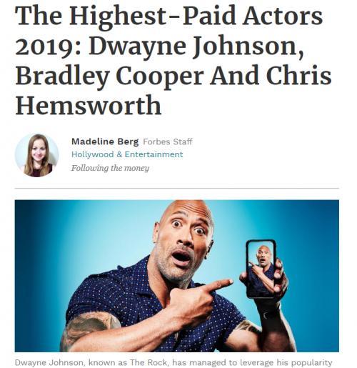 今年最も稼いだ俳優は? フォーブス誌がランキングを発表