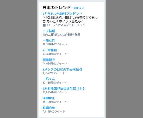 国民的アイドルグループ『嵐』の二宮和也さんが元女子アナの「一般女性」と結婚! 『Twitter』のトレンドに「結婚自体」