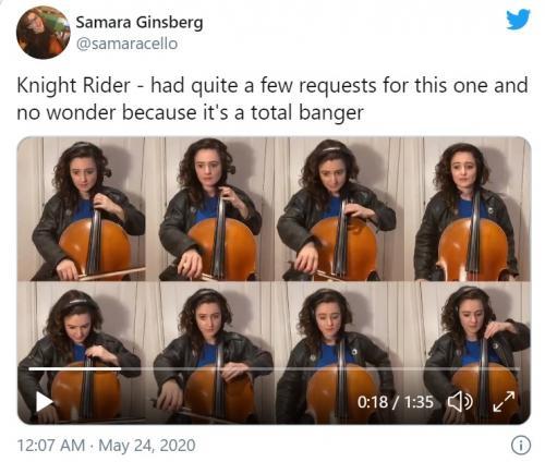 『ナイトライダー』のテーマ曲を一人で演奏したチェリストが話題に 「一人オーケストラじゃん」