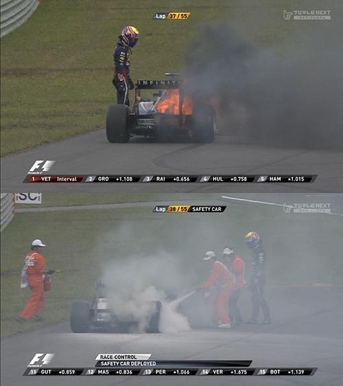 酷すぎるF1韓国GP車が炎上しても消火活動なし 優勝したベッテルは「鈴鹿サイコー!韓国は今年が最後と聞いてる」