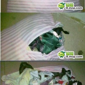5ドルで買った中国の枕の中からゴミがどっさり! 結果5ドルのゴミ袋