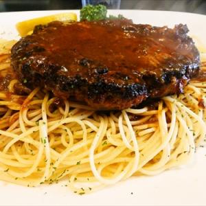 デミソースのハンバーグにスパゲティって最強じゃね? @小田急相模原『おさ』