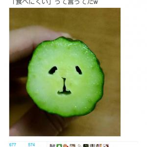 「食べにくい」 顔に見えるきゅうりの断面の画像がTwitterで話題に