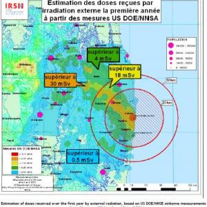 【参考】フランスIRSNによる「推定年間被曝量を示した地図」