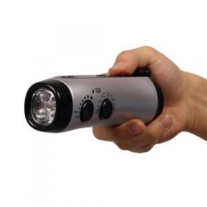もしもの時に手動で発電『ダイナモ内蔵携帯充電機能付きラジオ&懐中電灯』