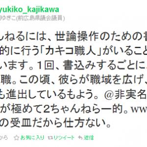 民主党の梶川ゆきこが「2ちゃんねるには、世論操作のための書込みを組織的に行う『カキコ職人』がいる」とツイート