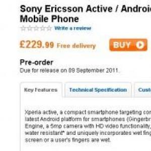 英Play.com、Sony Ericssonの防水・防塵スマートフォン『Xperia active』の予約受付を開始、発売予定日は今のところ9月9日