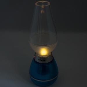 息を吹きかけると消える! レトロな灯油ランプ風LED照明