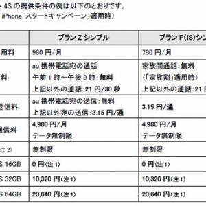 auがiPhoneの料金プランを発表! 64GBは実質2万円で月額定額4980円