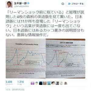 「リーマンショック」が和製英語か否か 民進党・玉木雄一郎議員のツイートが話題