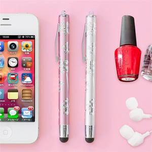 画面が汚れない ネイルもOK! 女子向けデザインのスマートフォン対応タッチペン