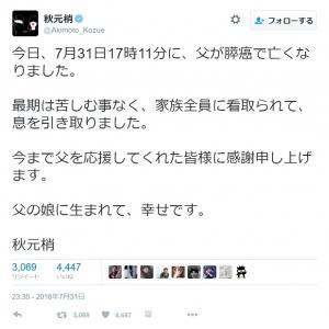 九重親方の次女・秋元梢さん「父の娘に生まれて、幸せです」 元朝青龍も追悼コメント
