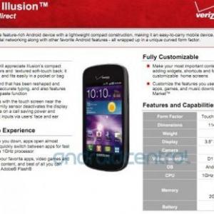 Samsung Illusionのスペックシートがリーク