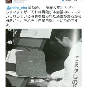 「国会中に『Twitter』更新か?」の批判に民進党・蓮舫代表「過剰反応するツイートに愕然」